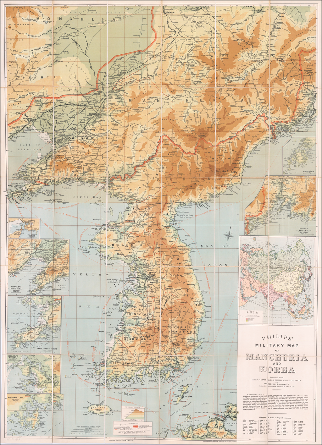 Philips' Military Map of Manchuria and Korea Compiled from Foreign Staff Maps & British Admiralty Charts By George Philip & Son