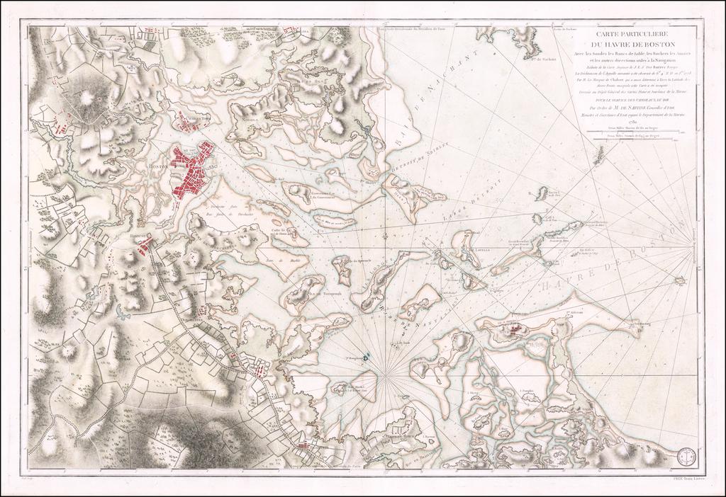 Carte Particuliere Du Havre De Boston  . . . 1780 By Antoine Sartine