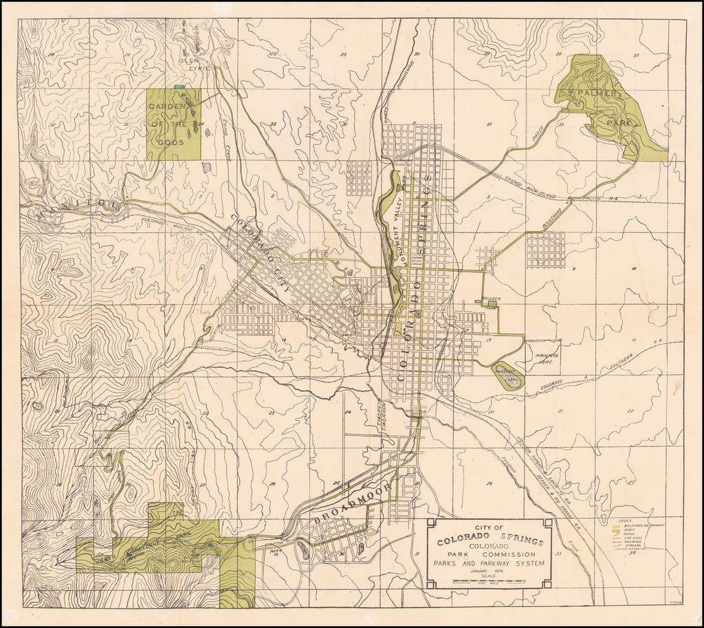City of Colorado Springs, Colorado. Park Commssion Parks and Recreation System . 1909. By William Ellington