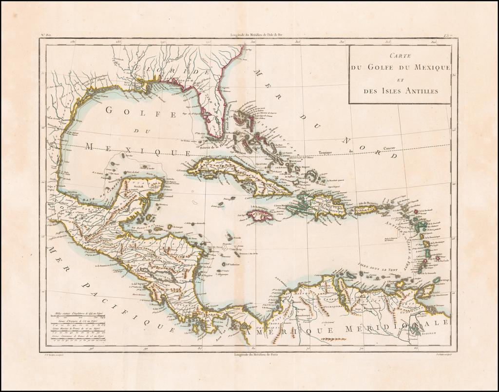 Carte Du Golfe Du Mexique Et Des Isles Antilles By Mentelle  &  Pierre-Gilles Chanlaire