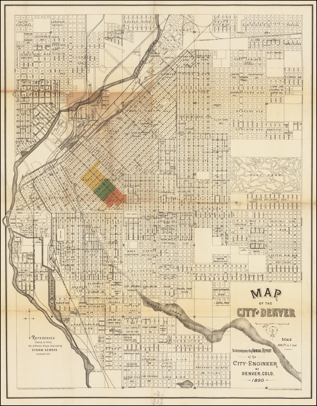 Map of the City of Denver -- To Accompany the Annual Report of the City Engineer of Denver, Colo.  1890 By Denver Litho Co.