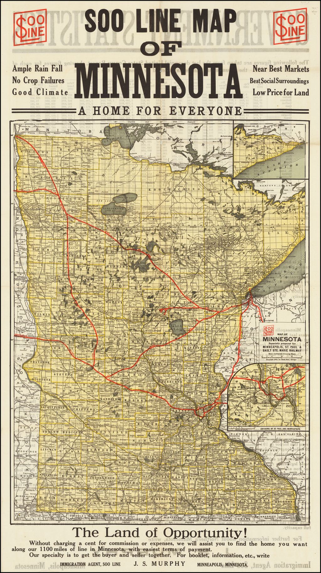 Soo Line Map of Minnesota -- A Home For Everyone  By Poole Brothers