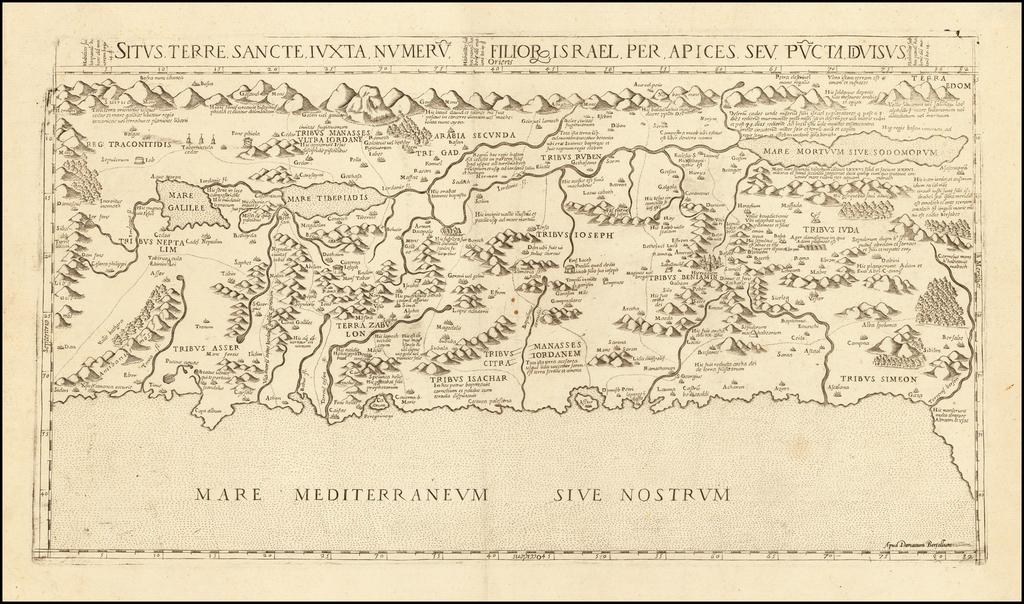 Situs Terre Sancte Iuxta Numeru  Filior Israel Per Apices Seu Pucta Divisus By Donato Bertelli
