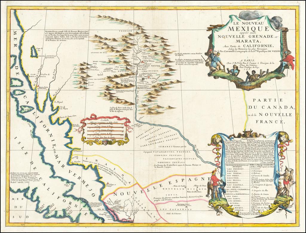Le Nouveau Mexique appele aussi Nouvelle Grenade et Marata, Avec Partie de Californie . . . 168 By Vincenzo Maria Coronelli / Jean-Baptiste Nolin