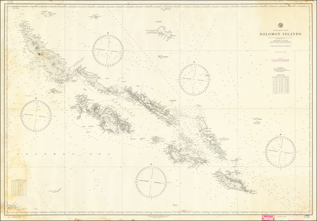 Solomon Islands From British and German Surveys to 1933 with addtions to 1944 By U.S. Hydrographical Office