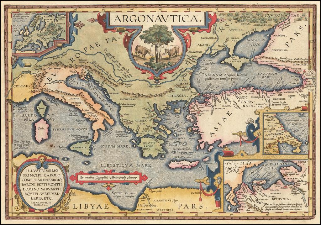 Argonautica.  Illustrissimo Principi Carolo Comiti Arenbergio, Baroni Septimontii, Domino Miravartii, Equiti Aurei Velleris, etc.  . . . By Abraham Ortelius