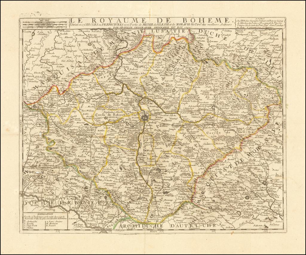 Le Royaume De Boheme Divise en 17 Cercles ou Prectures avec Partie Misnie de Silesie et de Moravie . . . 1742 By Jean-Baptiste Nolin