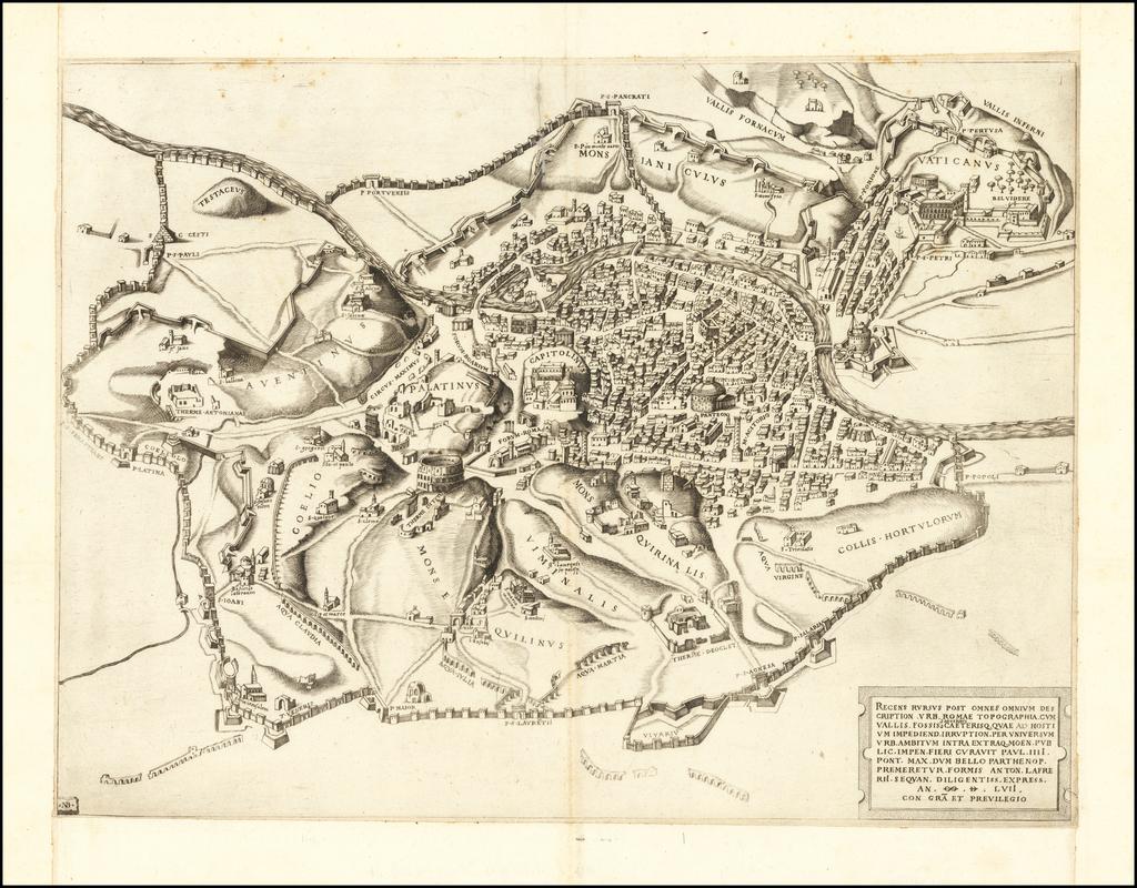 Recens rursus post omnes omnium description. Urb. Romae topographia . . . An. M. D. LVII By Antonio Lafreri / Nicolas Beatrizet