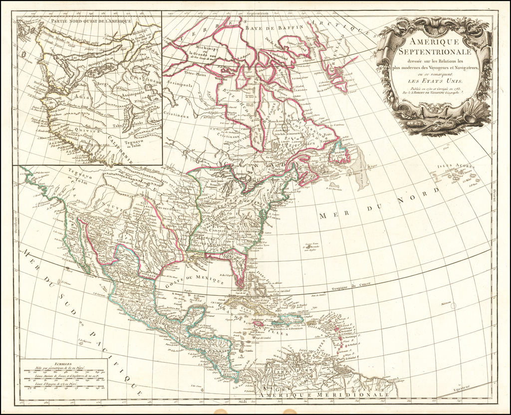 Amerique Septentrionale dressee sur les Relations plus modernes des Voyageurs et Navigateurs ou se remarquent Les Etats Unis . . . Pubilee en 1750 et Corrigee en 1783 By Gilles Robert de Vaugondy