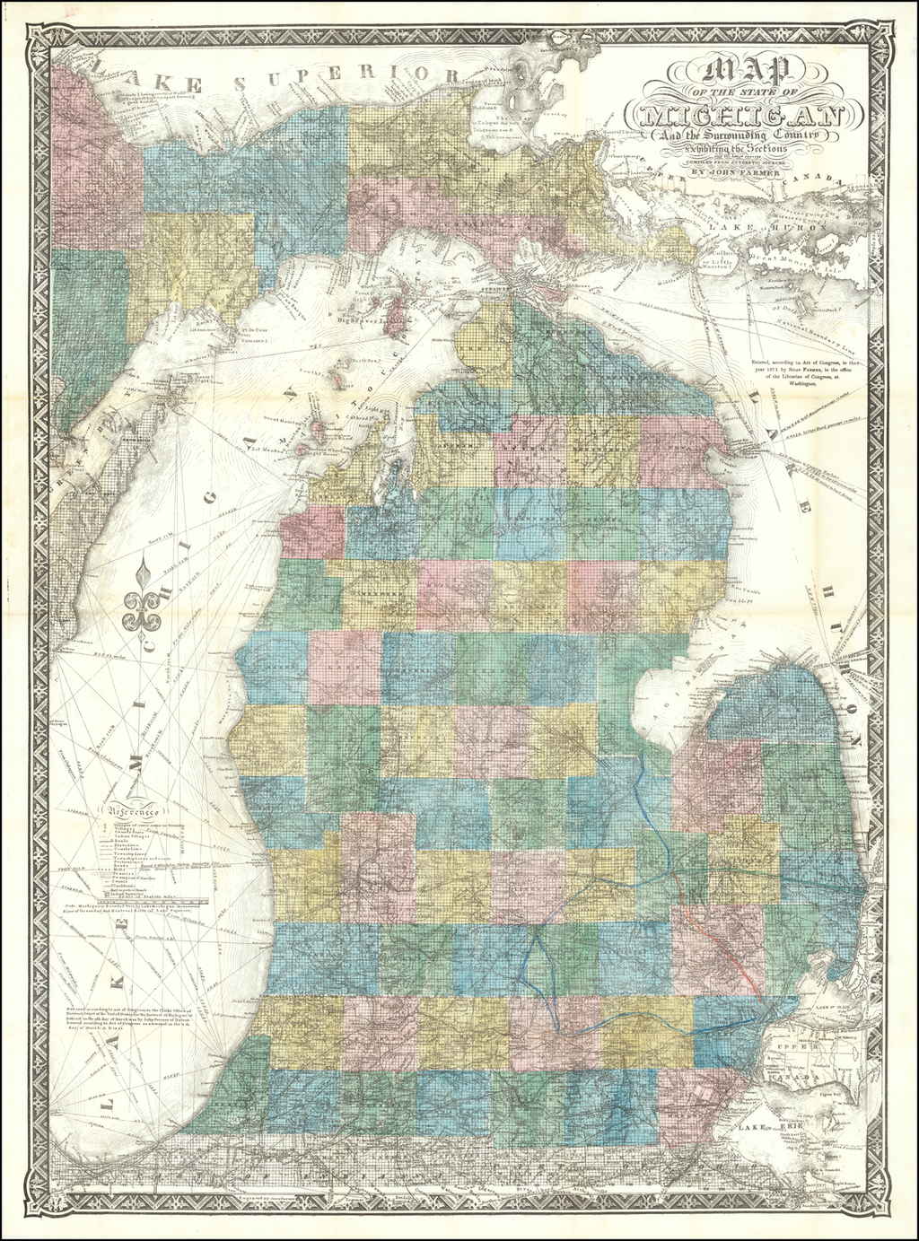 Map of the State of Michigan and the Surrounding Country, Exhibiting the Sections and the Latest Surveys Compiled From Authentic Sources. . .  By John Farmer