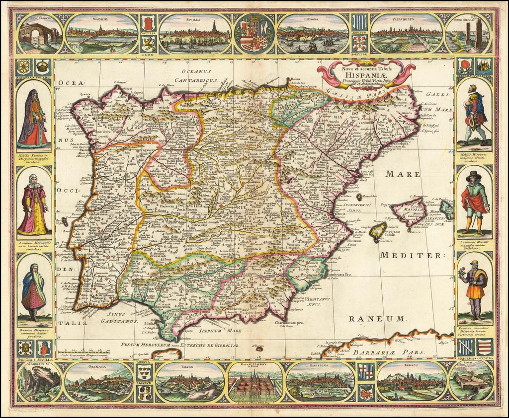Nova et accurata Tabula Hispaniae Praecipuis Urbib. Vestitu Insignib et Antiquitatibus exornata By Anonymous