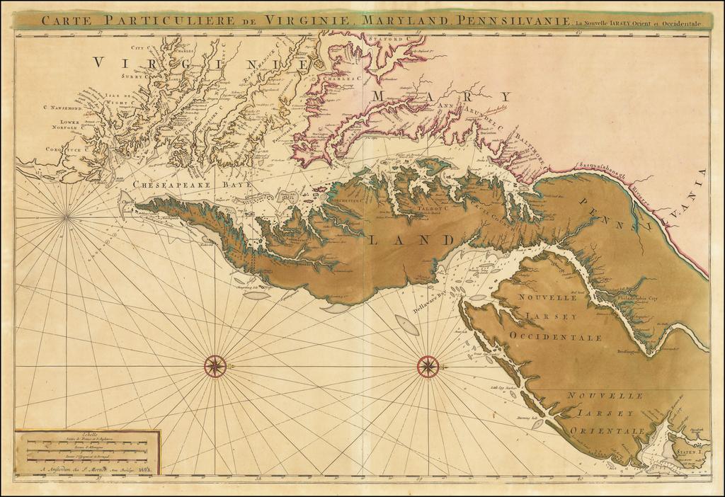 Carte Particuliere de Virginie, Maryland, Pennsilvanie, La Nouvelle Jarsey. Orient et Occidentale [Heighten in Gold!] By Pieter Mortier