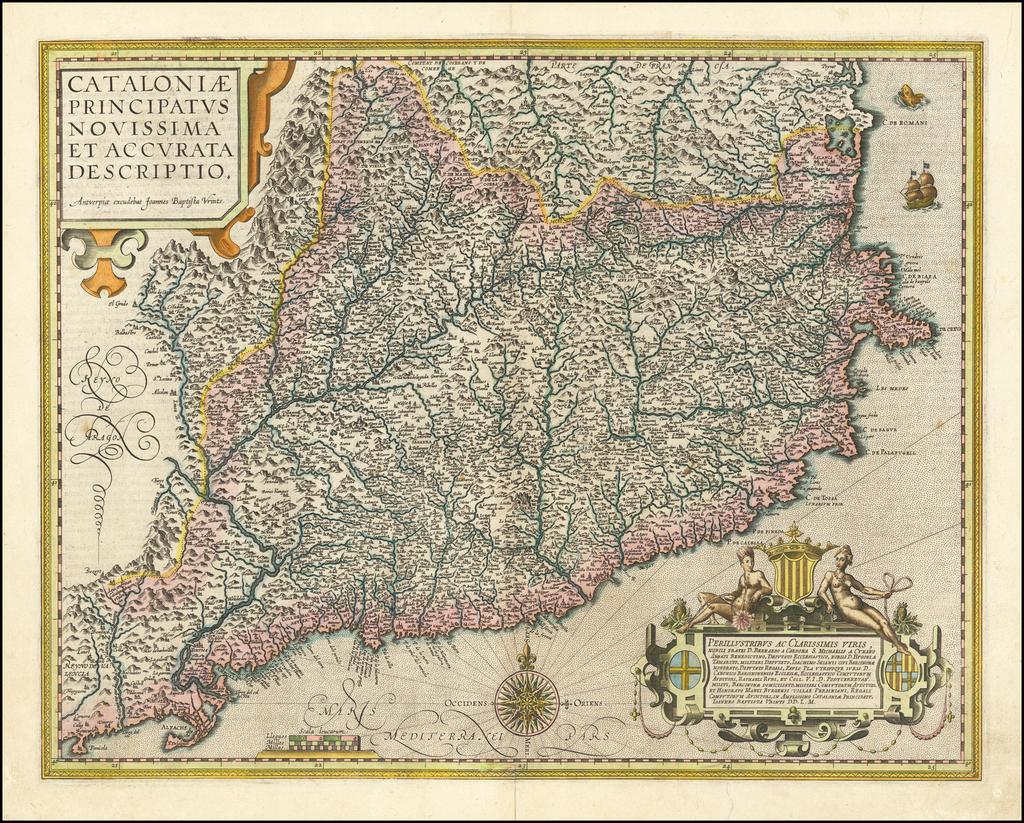 Cataloniae Principatus Novissima et Accurata Descriptio . . .  By Abraham Ortelius / Johannes Baptista Vrients