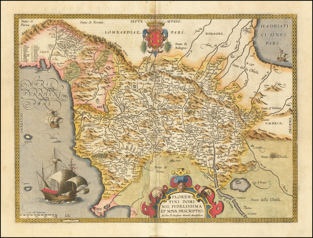 Florentini Dominii, Fidelissima et Nova Descriptio Auctore D. Stephano Monacho Montisoliveti By Abraham Ortelius