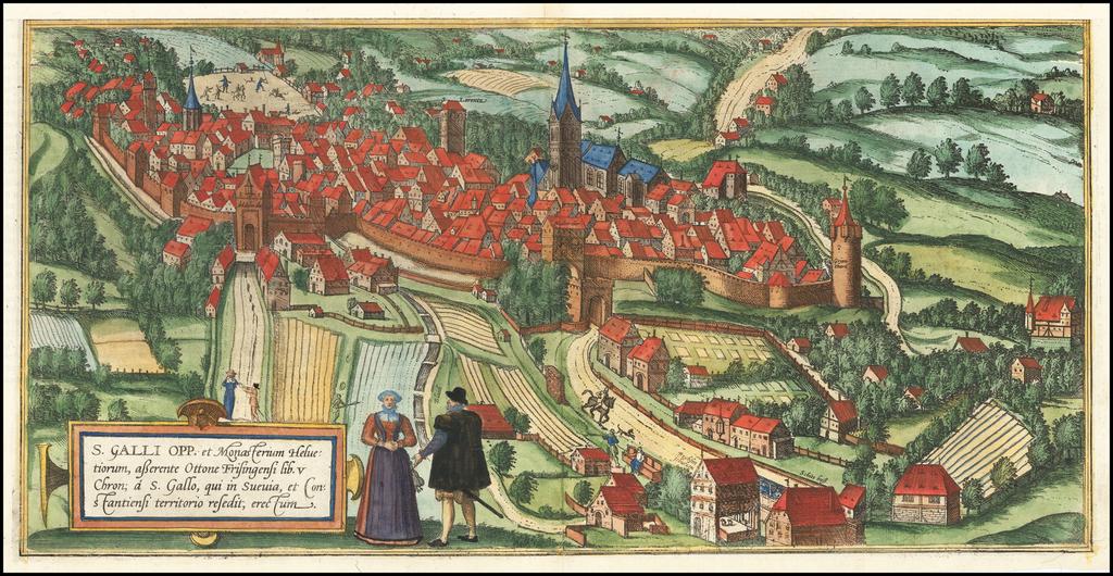 [St. Gallen]  S. Galli Opp. et Monasterium Helvetiorum, asterente Ottone Frisingensi  By Georg Braun  &  Frans Hogenberg