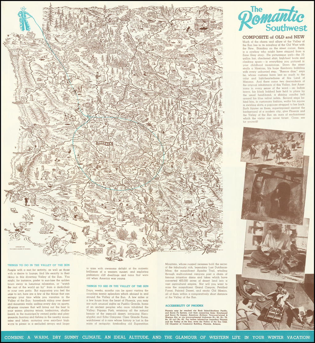 (Pictorial Map of Arizona) The Romantic Southwest By Hague  &  Phoenix Chamber of Commerce