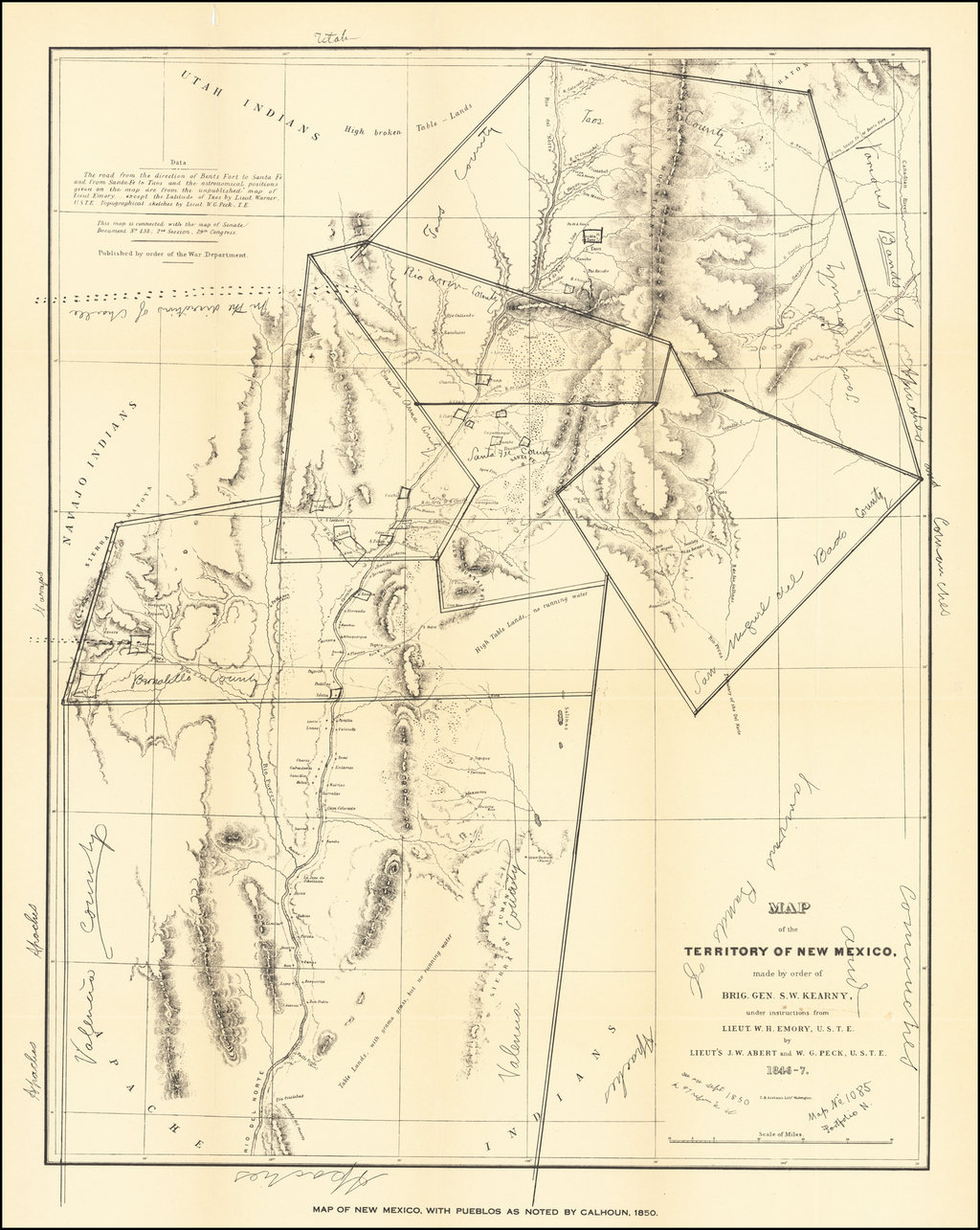(James S. Calhoun's Annotated Copy) Map of the Territory of New Mexico Made by Order of Brig. Gen. S.W. Kearny under Instructions from Lieut. W.H. Emory, U.S.T.E. by Lieut's J.W. Abert and W.G. Peck, U.S.T.E., 1846-7 By United States GPO
