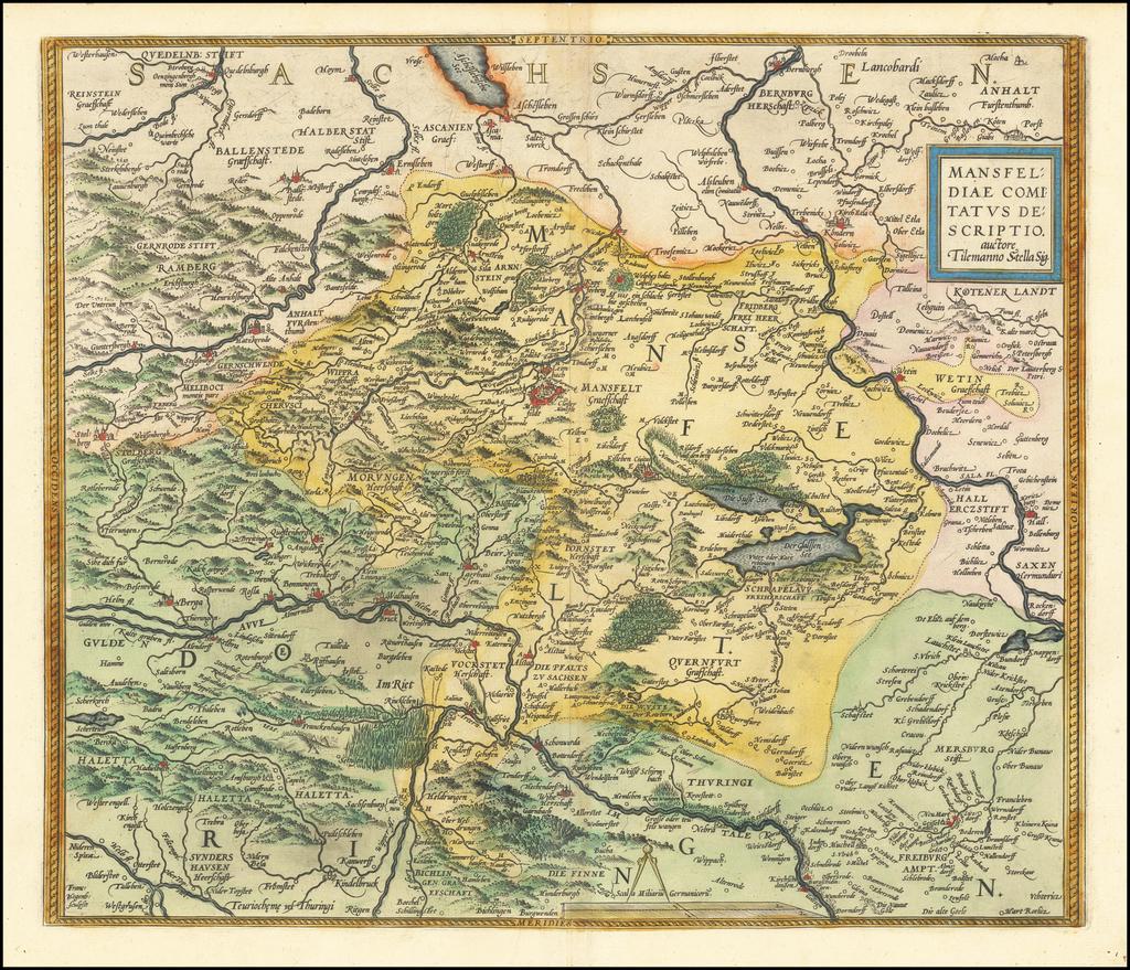 Mansfeldiae Comitatus Descriptio auctore Tilemanno Stella Sig. By Abraham Ortelius