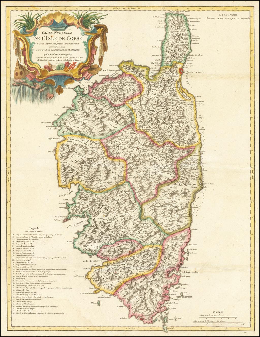 Carte Nouvelle de L'Isle De Corse . . . 1756 By Didier Robert de Vaugondy