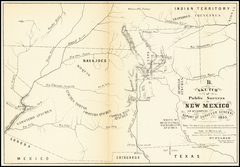 Sketch of Public Surveys in New Mexico to Accompany Report of Surveyor General 1855 By U.S. State Surveys
