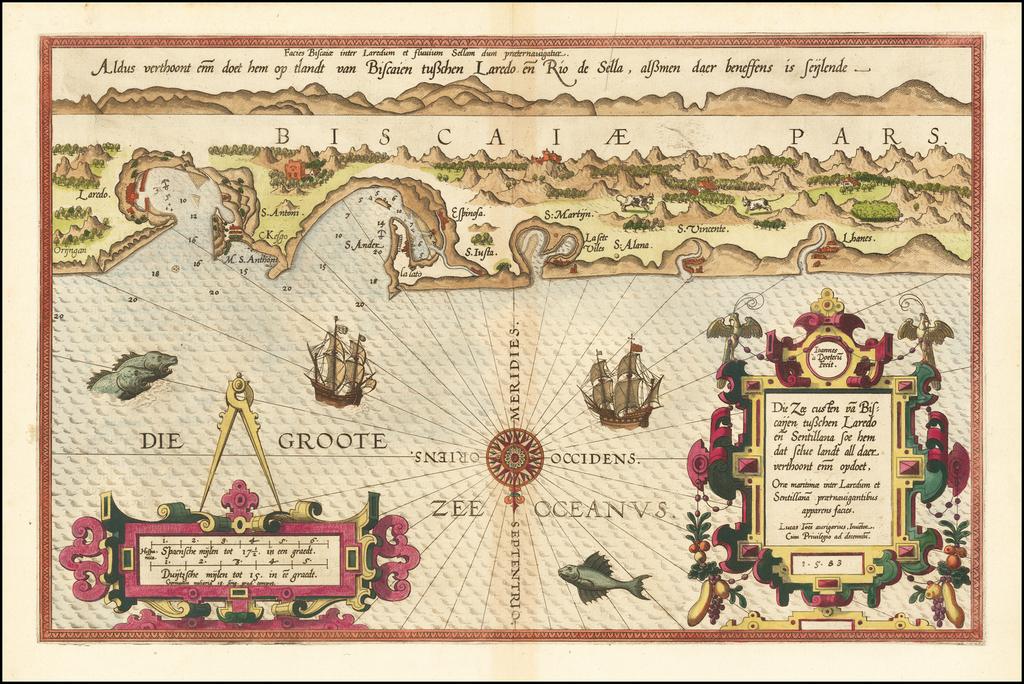 [Basque Coast]  Die Zee Custen van Biscaijen tuschen Laredo en Sentillana soe hem dat Selue landt all daer vertthoornt enn opdoet . . . 1583 By Lucas Janszoon Waghenaer