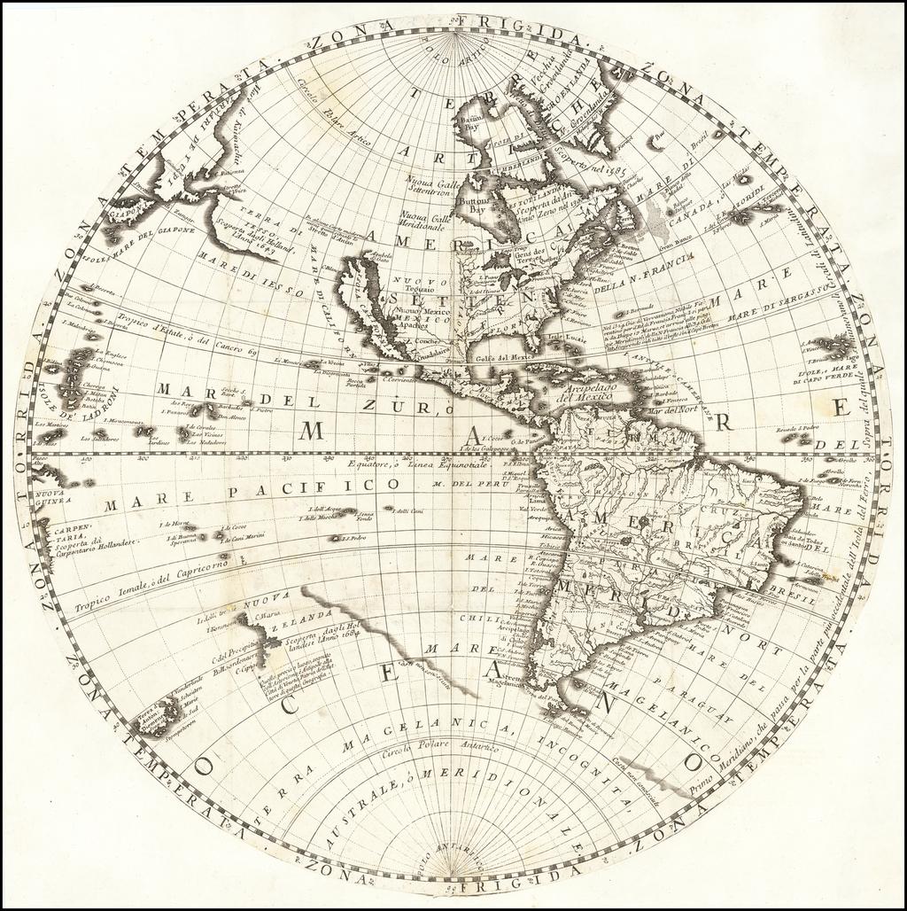 [Western Hemisphere -- California as an Island] By Vincenzo Maria Coronelli