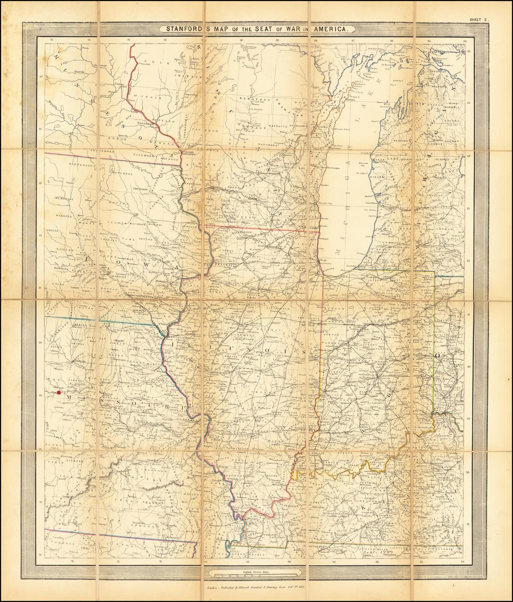 Stanford's Map of the Seat of War in America (Wisconsin, Michigan, Iowa, Illinois, Indiana, Kentucky, Missouri, Minnesota By Edward Stanford