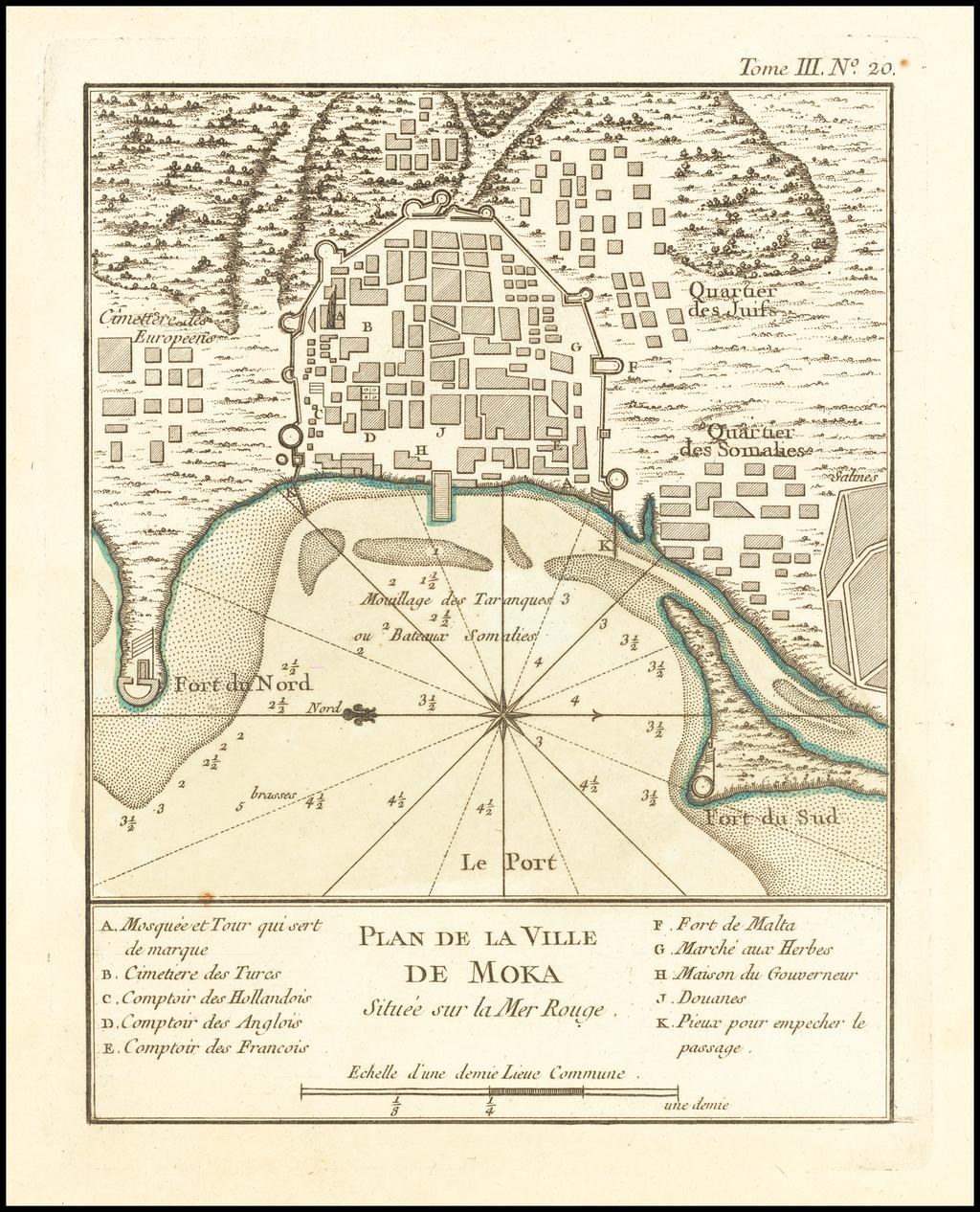 Plan De La Ville De Moka Situee sur la Mer Rouge By Jacques Nicolas Bellin