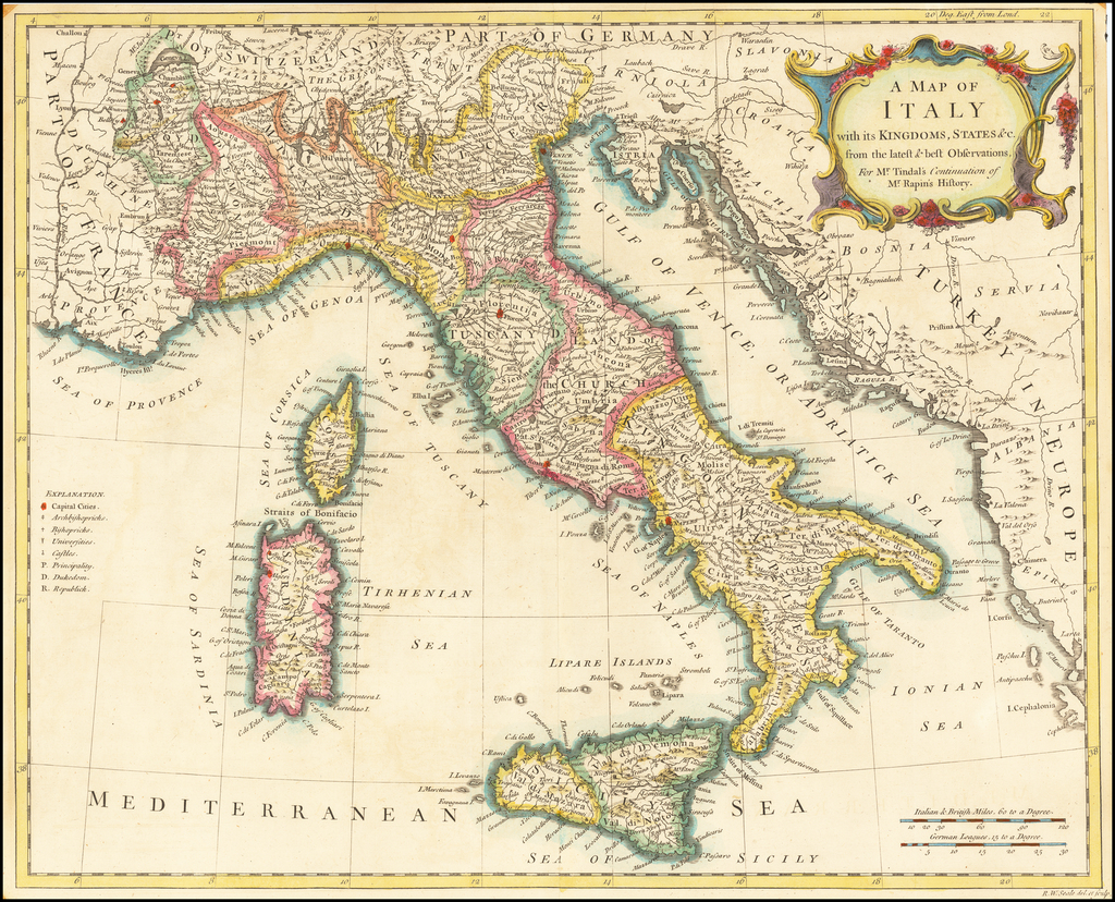 A Map of Italy with its Kingdoms, States, &c. . . By Richard William Seale