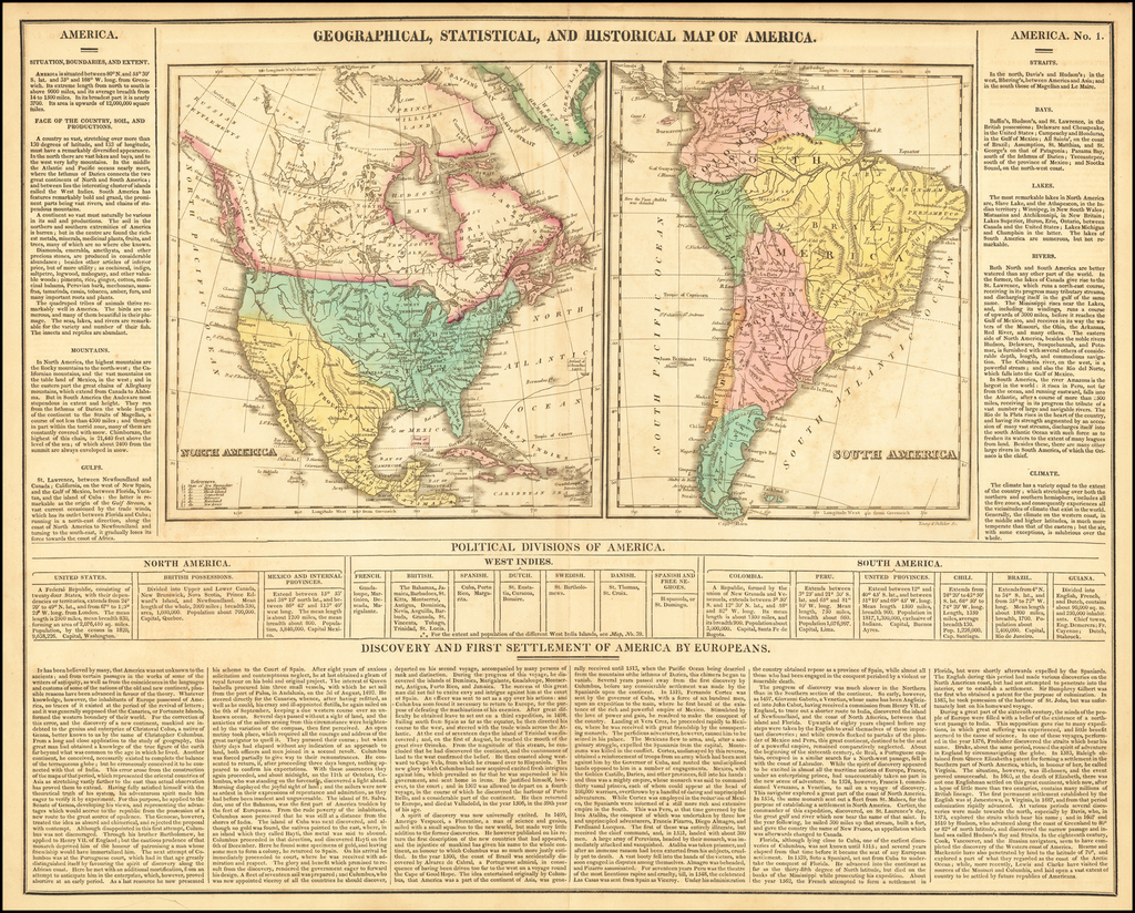 Geographical, Statistical and Historical Map of America By Henry Charles Carey  &  Isaac Lea