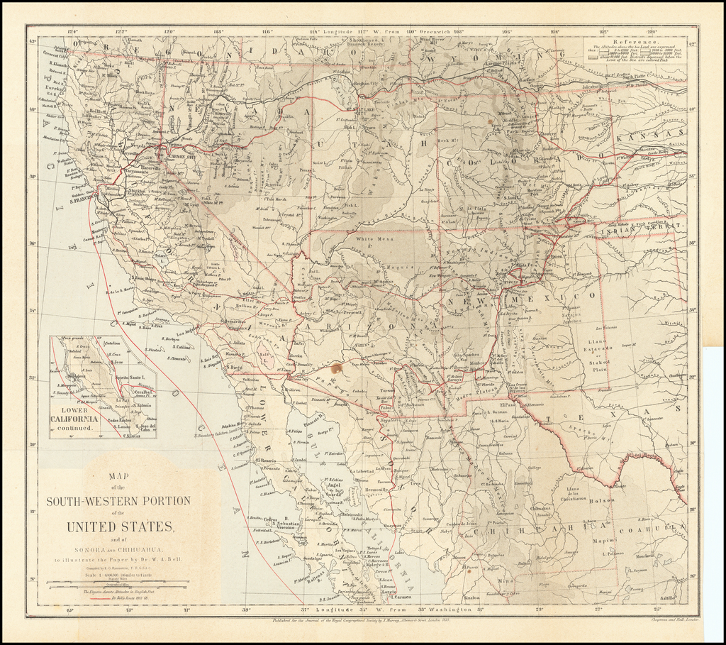 Map of the South-Western Portion of the United States and of Sonora and Chihuahua to illustrate the Paper by Dr. W.A. Bell. . . . (with Royal Geographical Society Text) By Royal Geographical Society