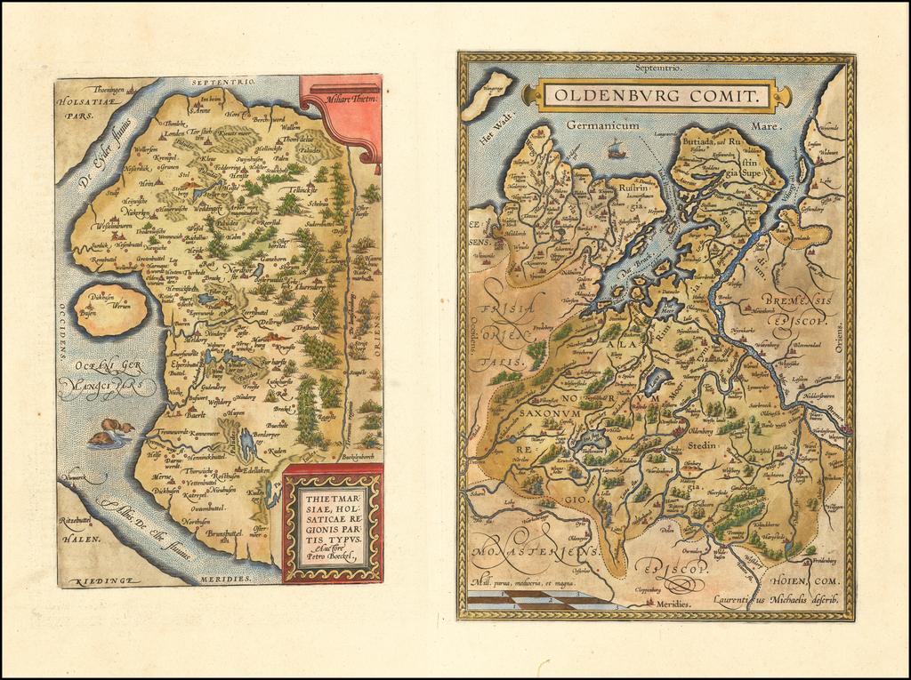 Thietmarsiae, Holsaticae Regionis Partis Typus [with] Oldenburg Comit. By Abraham Ortelius