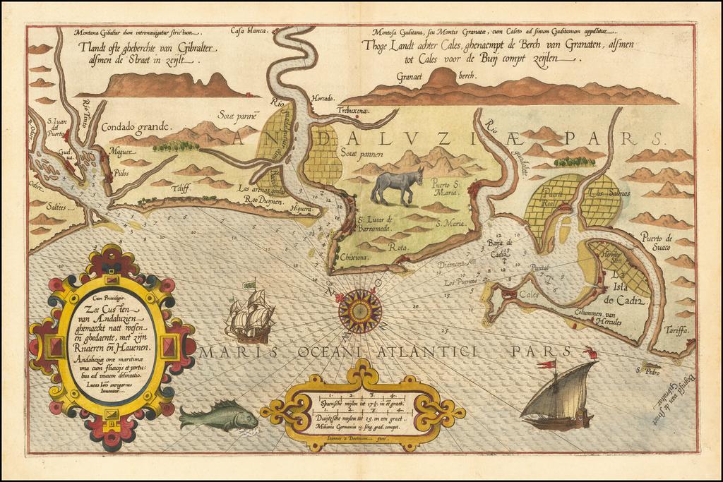 Zee Custen van Andaluzien ghemaeckt naet wesen en ghedaente, met zijn Rivieren en Hauenen By Lucas Janszoon Waghenaer