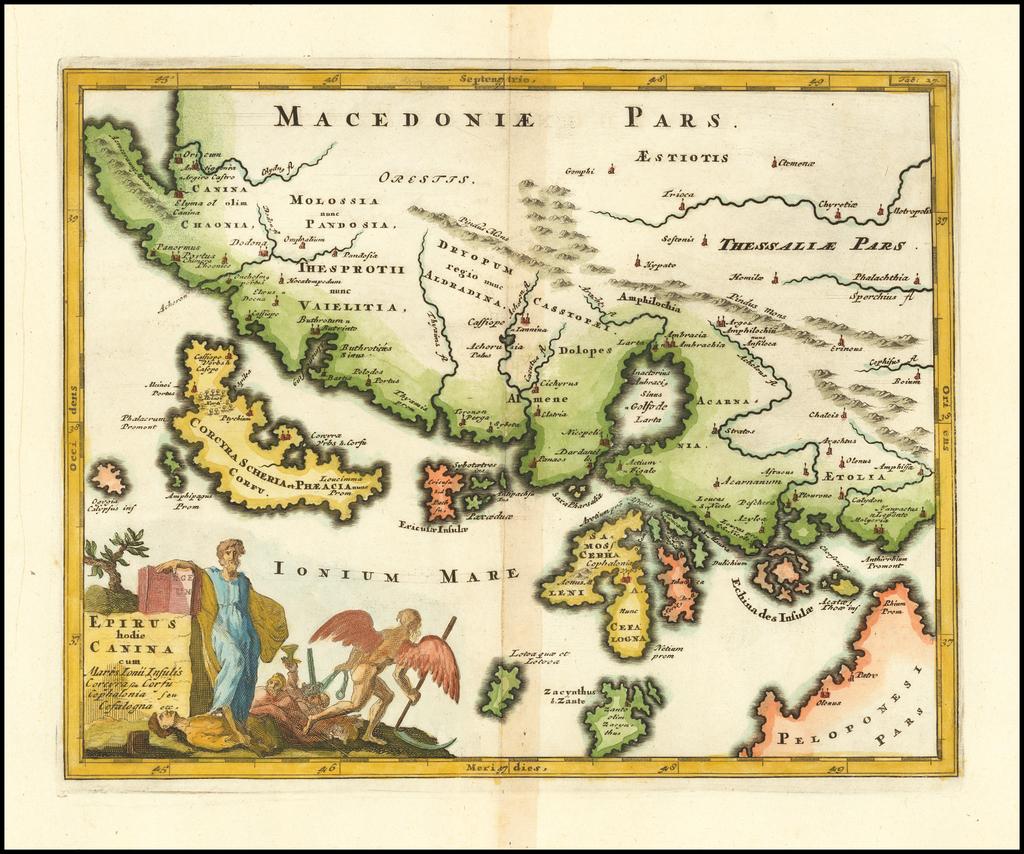 Epirus hodie Canina cumMares Ionii Insulis Corcyra seu Corfu Cephalonia seu Cefalogna etc. By Philipp Clüver
