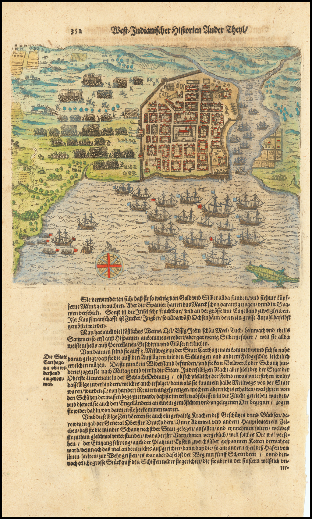 [Drake's Attack on Santo Domingo.] By Theodor De Bry / Matthaeus Merian