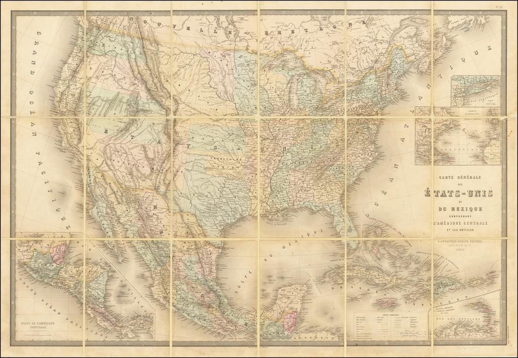 Carte Generale Des Etats-Unis Et Du Mexique . . . 1862 [Shows Territories of Colona and Shoshone] By Eugène Andriveau-Goujon