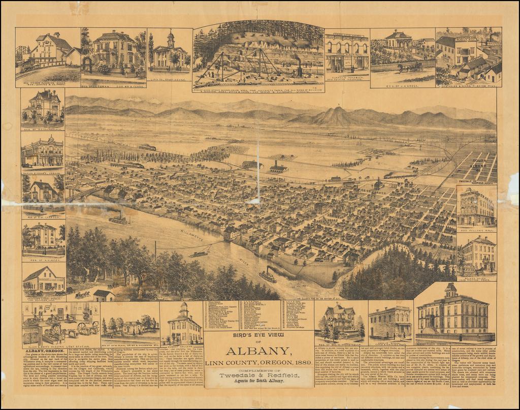 Bird's Eye View of Albany, Linn County, Oregon By Elliott Publishing Company