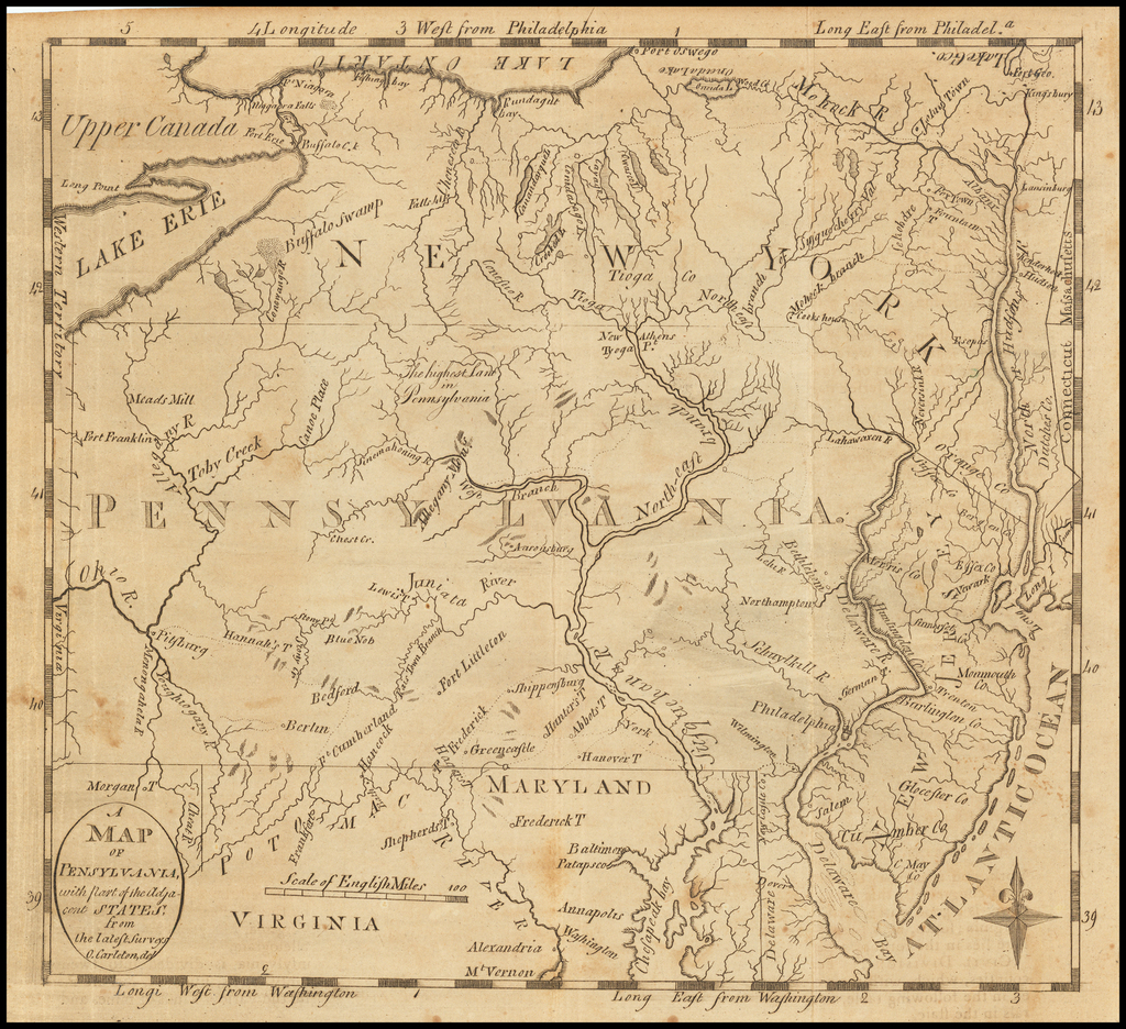 A Map of Pennsylvania with part of the Adjacent States from the latest Surveys. O. Carleton Del. By Jedidiah Morse
