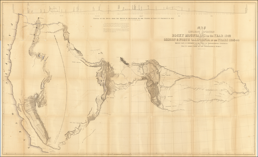 Map of an Exploring Expedition To The Rocky Mountains in the Years 1842 and to Oregon & North California in the Years 1843-44 By Brevet Capt. J. C. Fremont of the Corps of Topographical Engineers . . . By John Charles Fremont