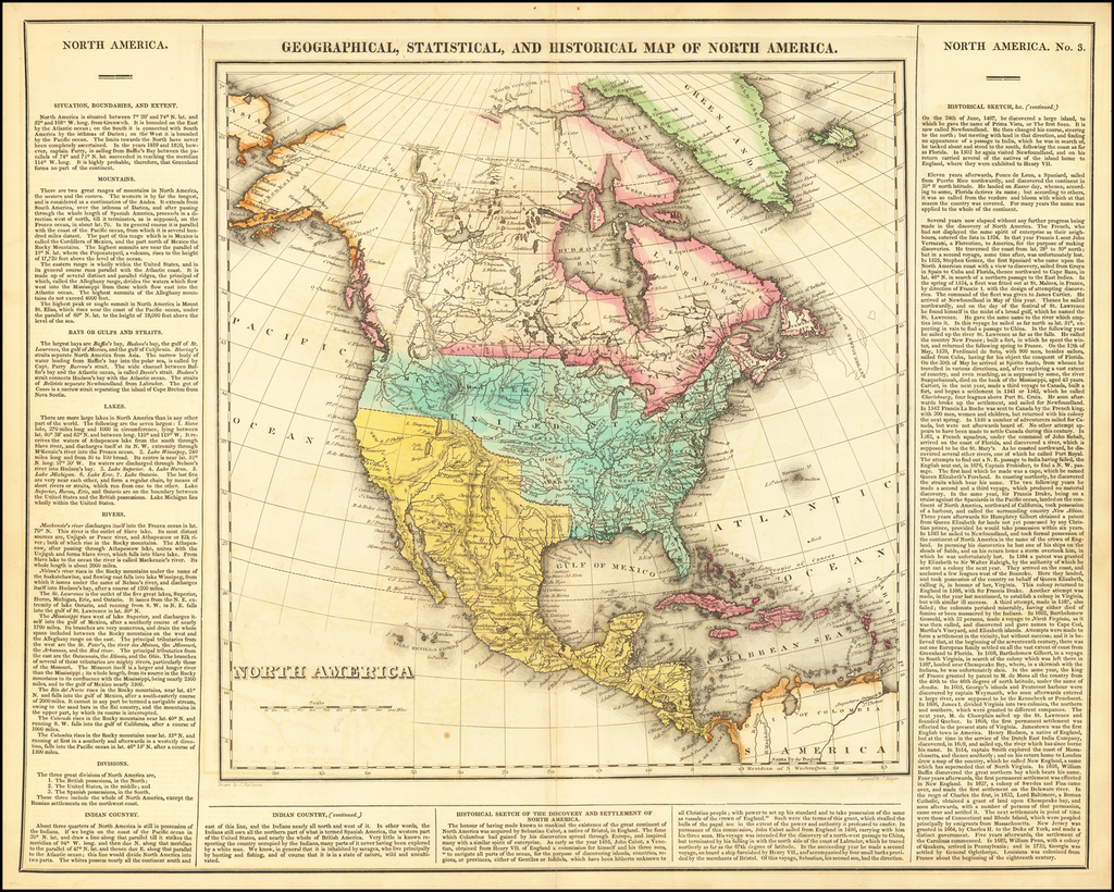 Geographical, Statistical and Historical Map of North America By Henry Charles Carey  &  Isaac Lea