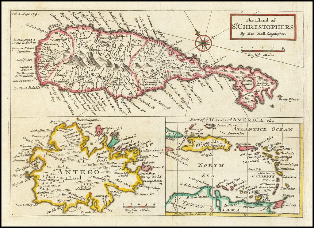 The Island of St. Christopher [and Antigua] [and] Part of ye Islands of America &c. By Herman Moll