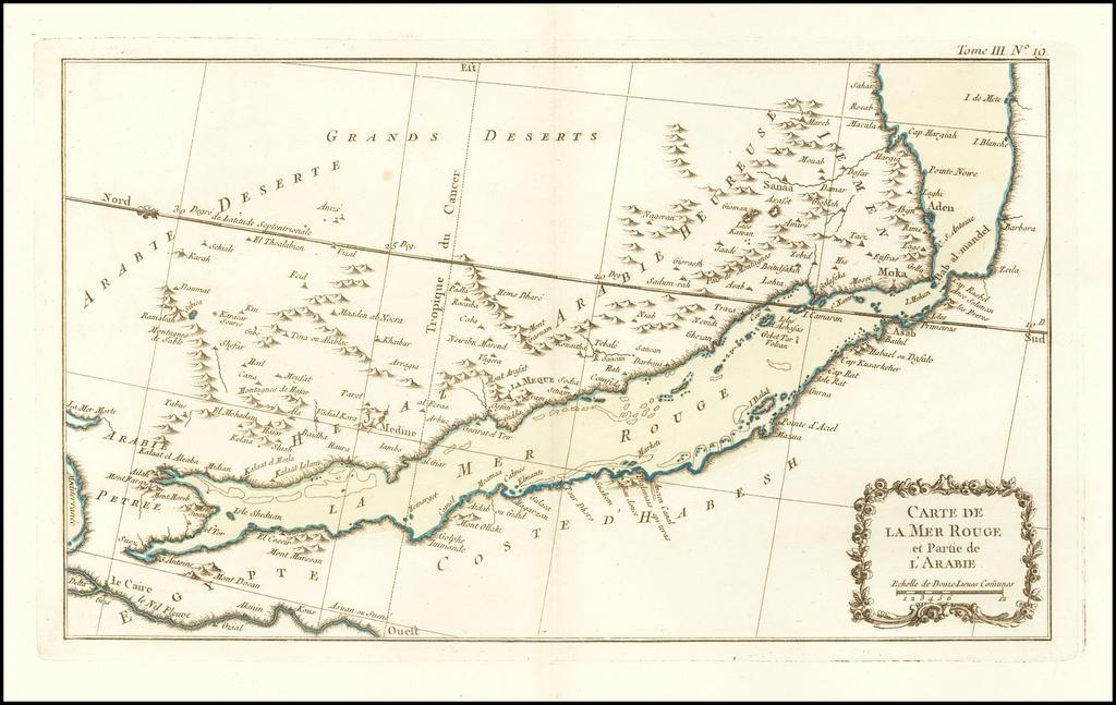 Carte De La Mer Rouge et Partie de L'Arabie By Jacques Nicolas Bellin