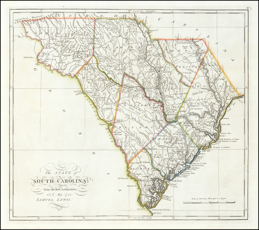 The State of South Carolina from the best Authorities by Samuel Lewis By Mathew Carey