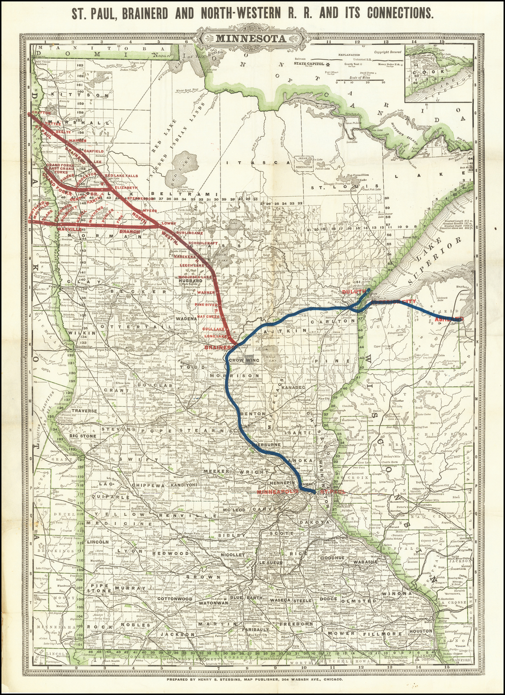 St. Paul, Brainerd and North-Western R.R. and its Connections By George F. Cram / Henry S. Stebbins