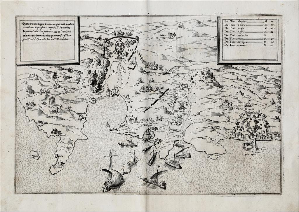 Questo e Il vero disegno de Tunis con gran parte de lafrica tratto da un disegno fatto al tempo che Il Serenissimo Imperator Carlo V lo prese lan[n]o 1535 co[n] le distancie delle terre piu Jmportante. By Petrus Palumbus Palombo