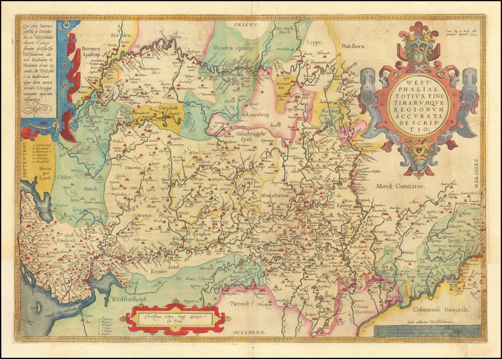 Westphaliae Totius, Finitimarumque Regionum Accurata Descriptio By Abraham Ortelius