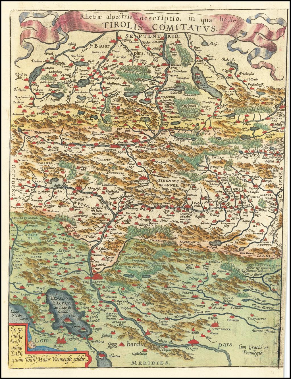Rhetiae alpestris descriptio in qua hodie Tirolis Comitatus [with] Goritiae, Karstii, Chaczeolae, Carniolae, Histriae, et Windorum Marchae Descrip. By Abraham Ortelius