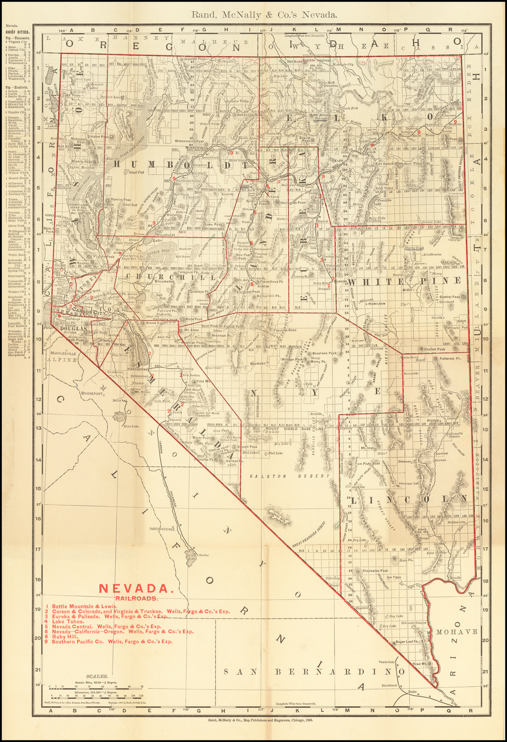 Rand McNally & Co's Indexed County and Township Map of Nevada   (Pocket Map) By William Rand  &  Andrew McNally