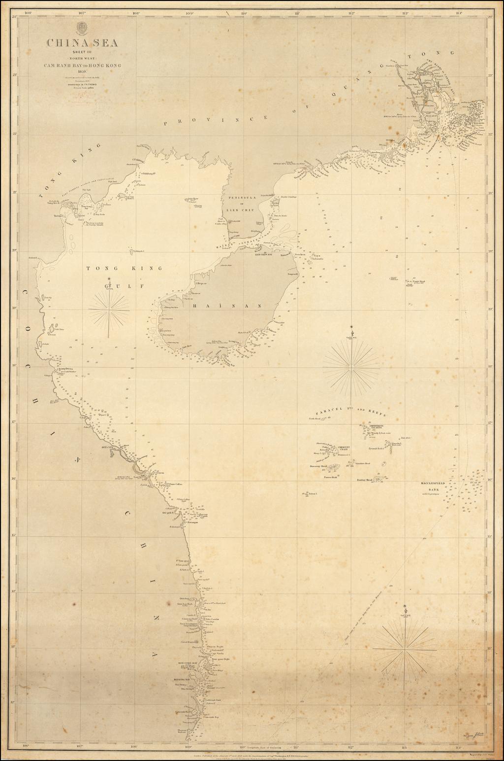 China Sea Sheet III (North West) Cam Ranh Bay to Hong Kong 1859. By British Admiralty