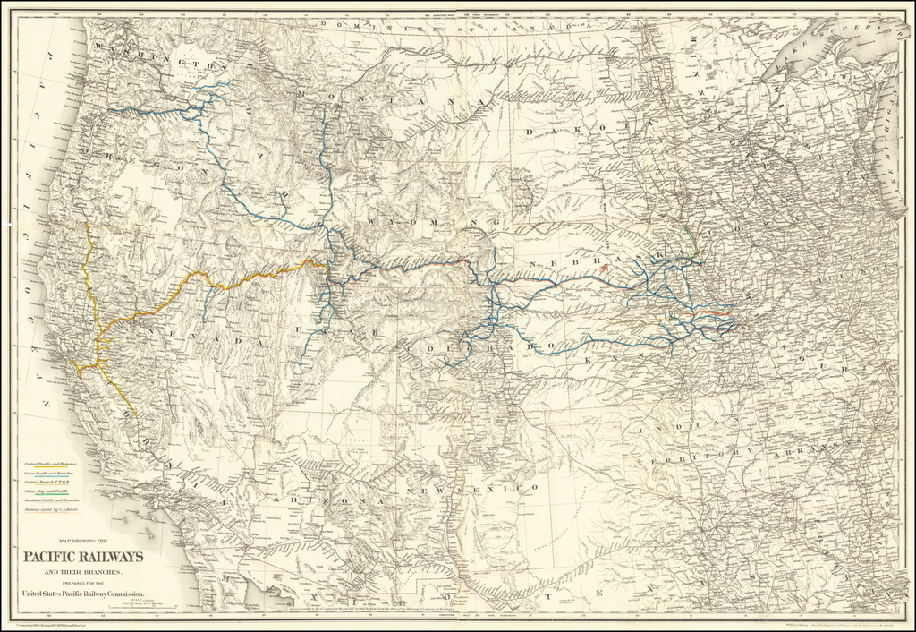 Map Showing The Pacific Railways and Their Branches.  Prepared for the United States Pacific Railway Commission. By G.W.  & C.B. Colton